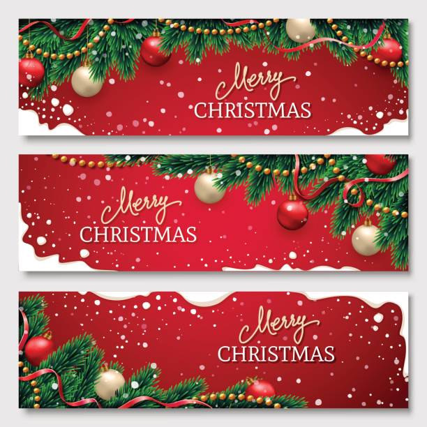 Christmas banners set with fir branches decorated with ribbons, red and gold balls and garlands. With snow frames on red background. Festive header design for your site. vector art illustration