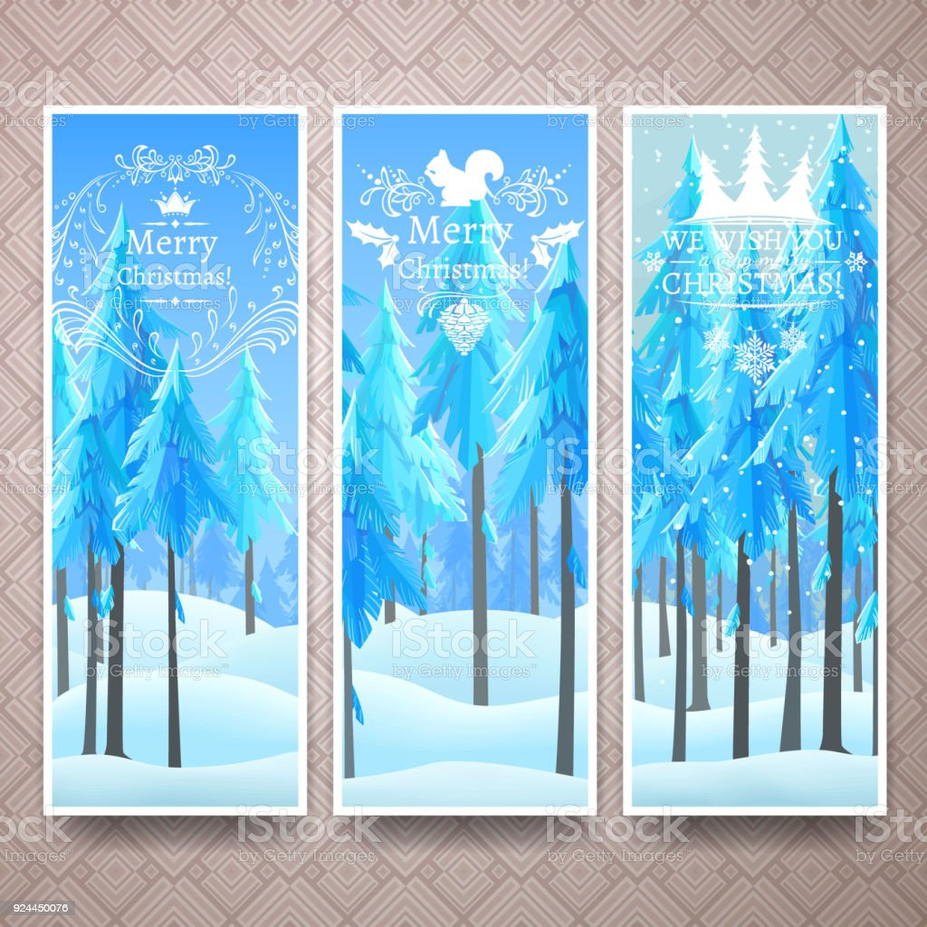 Christmas banners template with winter lanscape vector art illustration