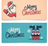 Christmas banners with Santa and a chimney. EPS 10 file. Transparency effects used on highlight elements.