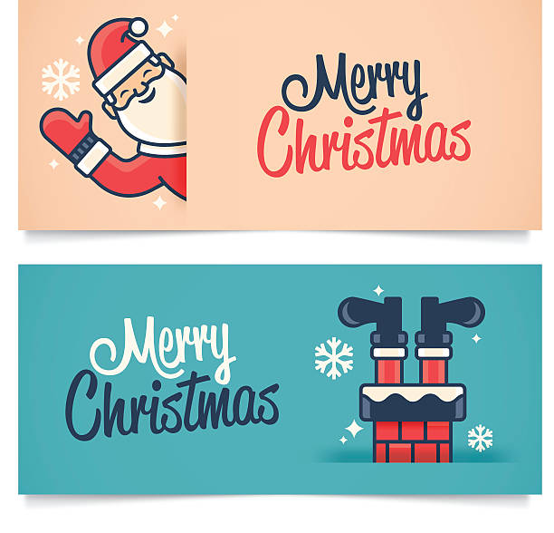 bildbanksillustrationer, clip art samt tecknat material och ikoner med christmas banners - skorsten
