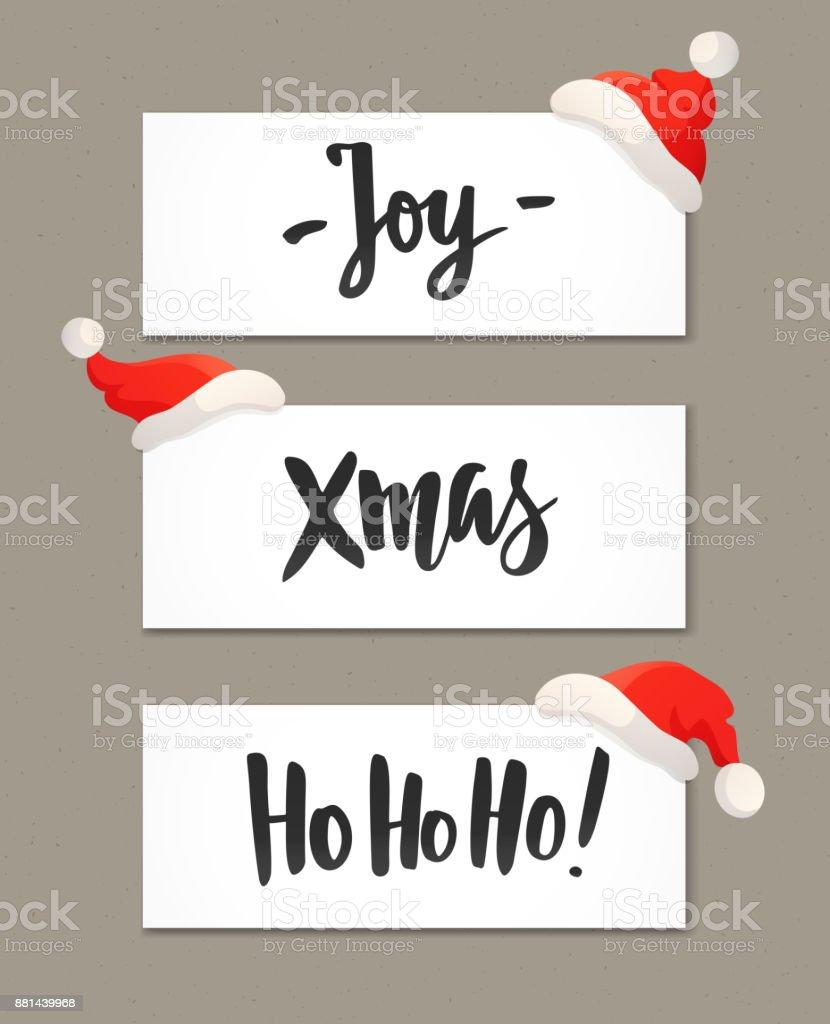 Weihnachtsbanner Mit Urlaub Gruß Zitate Und Rote Santa Hüte Freude ...