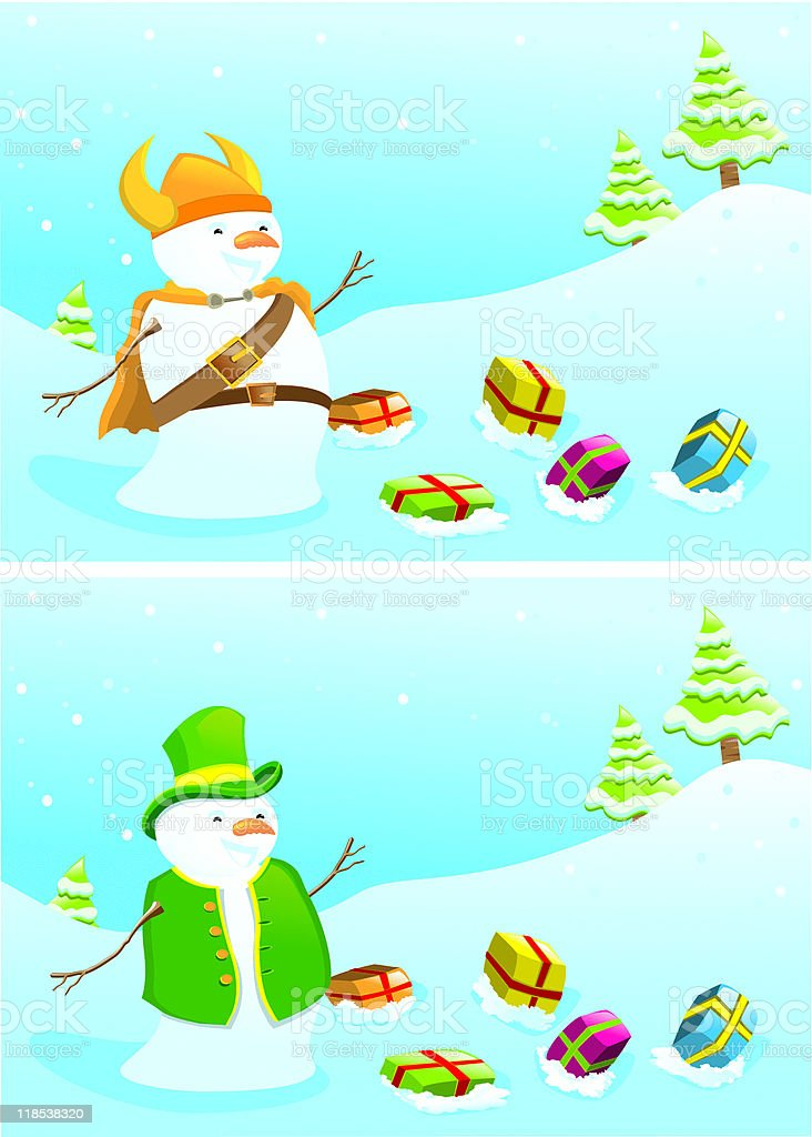 Christmas banners with snowmen. vector art illustration