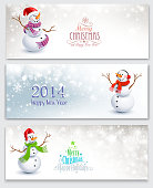 Three Christmas banners with snowmen on a gray background. Vector illustration EPS10, transparency