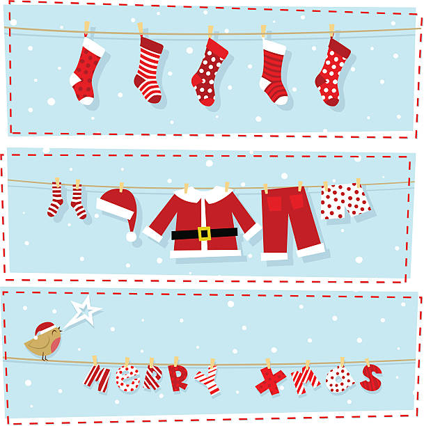 Christmas banners, xmas stocking & santa claus costume Three differents xmas banners. Please see some similar pictures in my lightboxs: christmas stocking stock illustrations