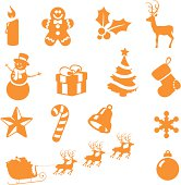 Christmas icons - easy to change colour.