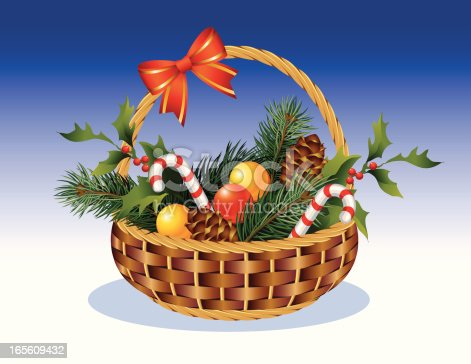 Illustration with a complete small basket, on a christmas subject. A table of contents is lollipops, branches ate,  branches of holly, balls and pine-cones.
