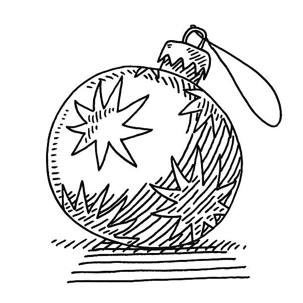 Christmas Bauble Decoration Drawing Hand-drawn vector drawing of a Christmas Bauble Decoration. Black-and-White sketch on a transparent background (.eps-file). Included files are EPS (v10) and Hi-Res JPG. celebration stock illustrations