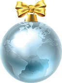 An illustration of a silver Globe World Earth Christmas tree bauble decoration ornament with a red ribbon bow