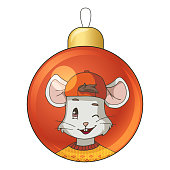 Christmas bauble with drawing cartoon mouse (rat) wearing an orange sweater and a cap. Isolated objects on white background. Decor element for gift card, kids products. Vector illustration.