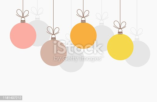 Christmas baubles hanging ornaments. Vector illustration background.