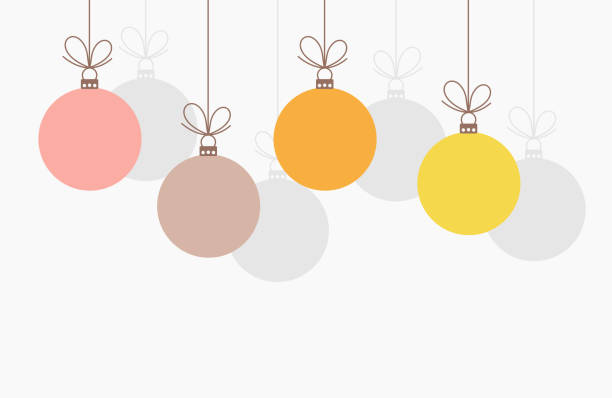 Christmas baubles hanging ornaments. Christmas baubles hanging ornaments. Vector illustration background. christmas ornament stock illustrations