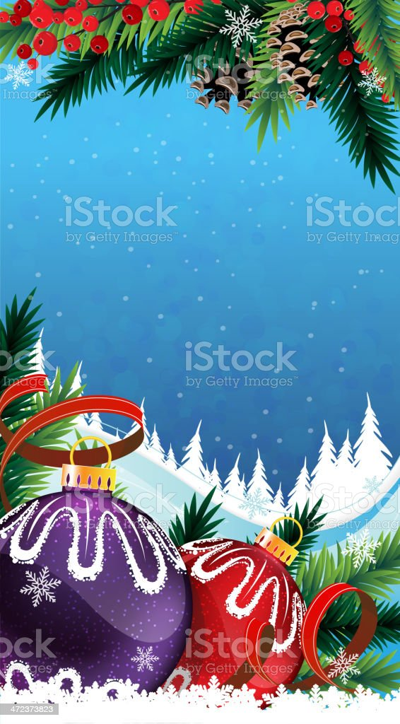 Christmas baubles in the snow royalty-free stock vector art