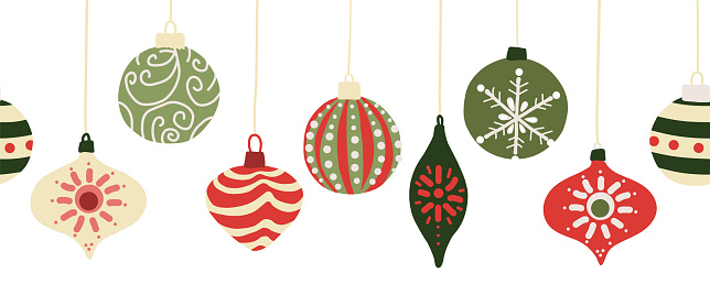 Christmas baubles seamless vector border. Repeating banner background with hanging Christmas ornament garland red and green. Use for holiday greeting card decor, letterhead, banners, fabric trim