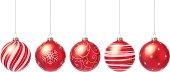 Vector illustration of five Christmas balls.