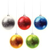 Ornaments with snowflakes isolated on white. No gradient mesh used.