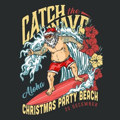 Christmas beach party vintage logotype