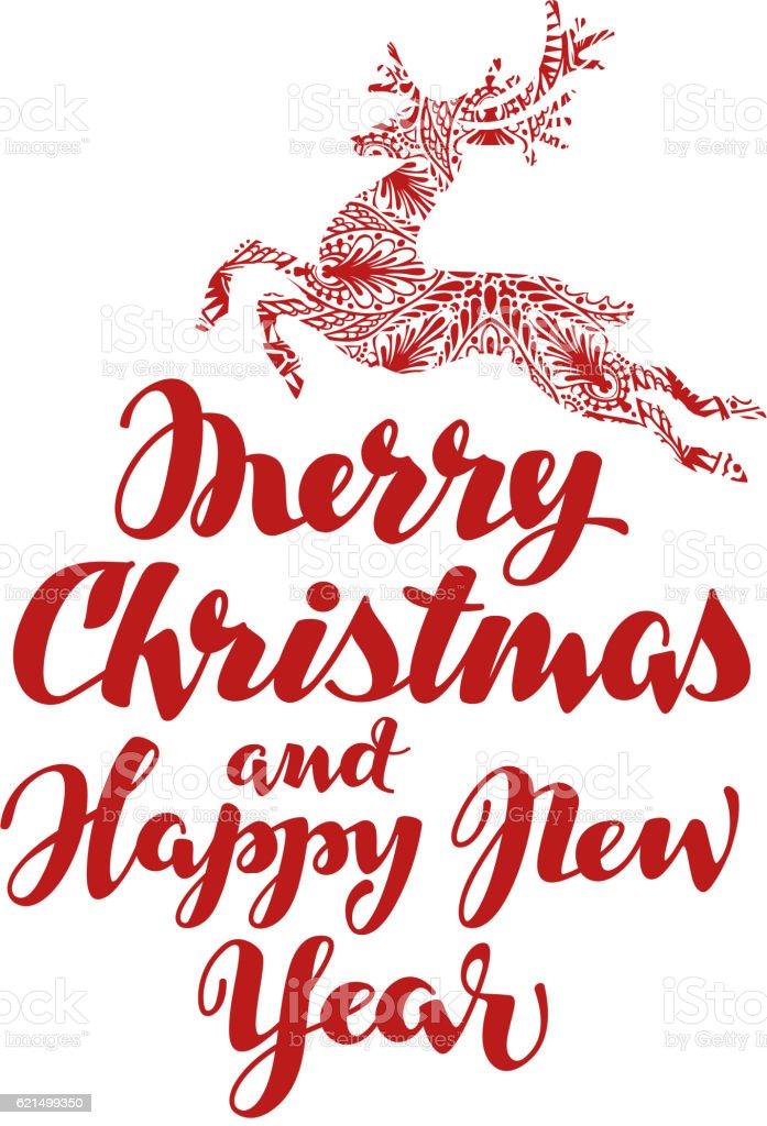 Christmas. Beautiful handwritten calligraphic lettering. Vector illustration christmas beautiful handwritten calligraphic lettering vector illustration - immagini vettoriali stock e altre immagini di calligrafia royalty-free