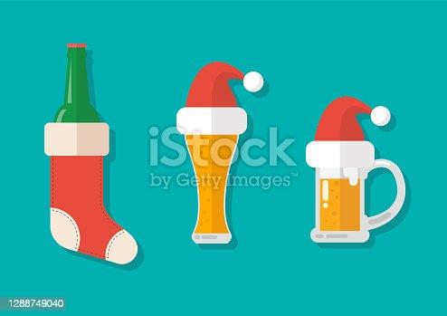 istock Christmas beer ale mug with christmas decoration 1288749040