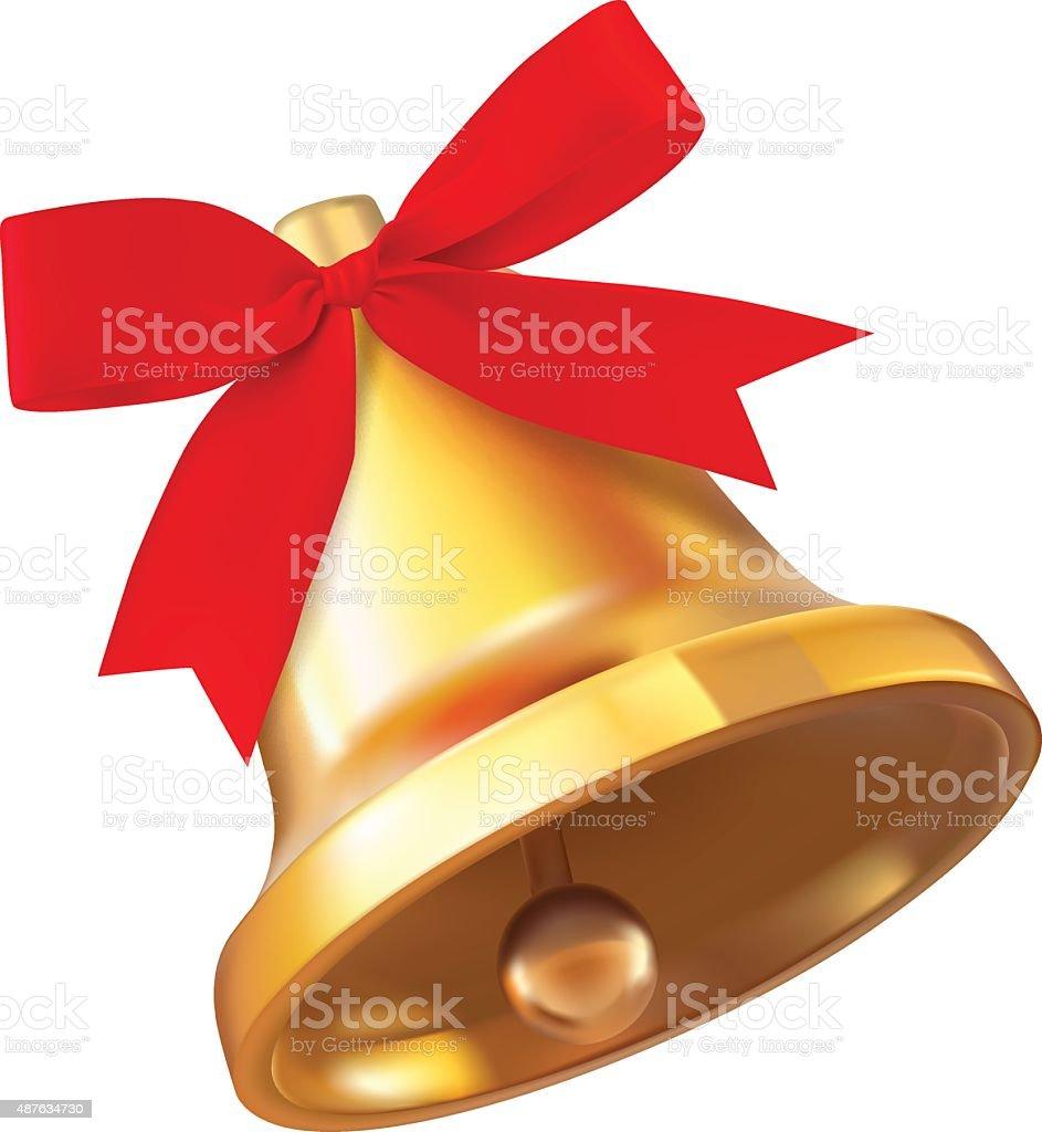 Christmas bell isolated on white background vector art illustration