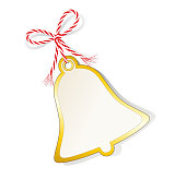 Gift label with golden edging and cord tape,