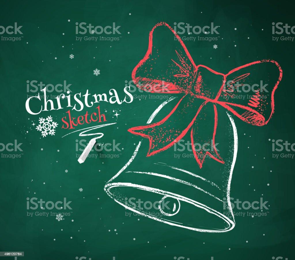 Christmas Bell on green chalkboard background. vector art illustration