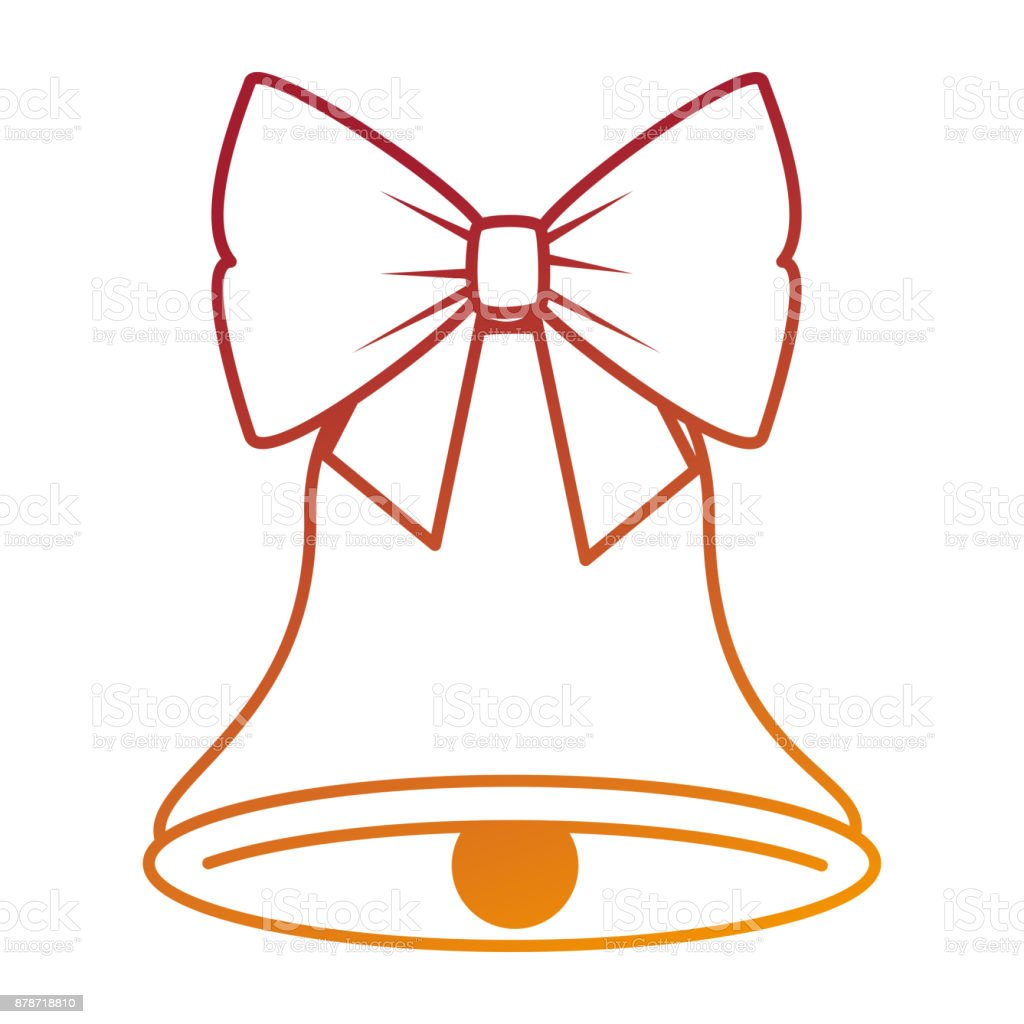 christmas bell with bowntie vector art illustration