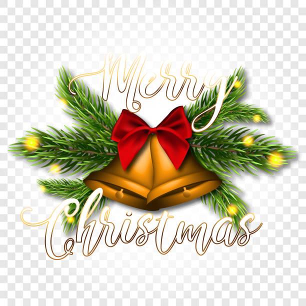 Weihnachtsglocken und Fichte Zweige auf einem transparenten Hintergrund. Aufkleber oder Etikett mit roten satin-Schleife – Vektorgrafik