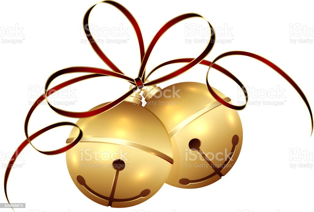 Christmas bells and tinsel vector art illustration