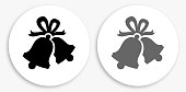 Christmas Bells Black and White Round Icon. This 100% royalty free vector illustration is featuring a round button with a drop shadow and the main icon is depicted in black and in grey for a roll-over effect.