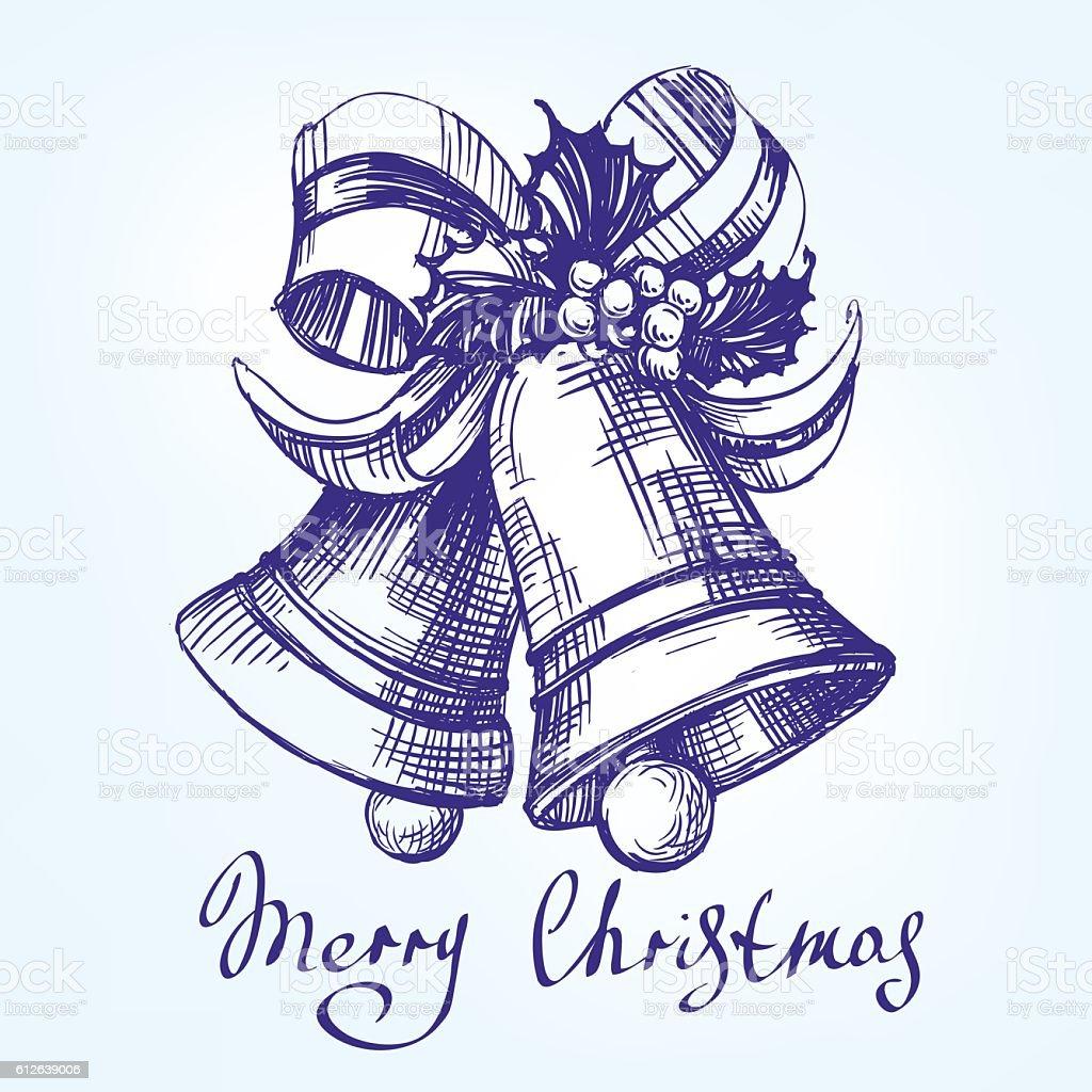 Christmas bells hand drawn vector llustration  sketch vector art illustration
