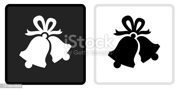 Christmas Bells Icon on  Black Button with White Rollover. This vector icon has two  variations. The first one on the left is dark gray with a black border and the second button on the right is white with a light gray border. The buttons are identical in size and will work perfectly as a roll-over combination.. This vector icon has two  variations. The first one on the left is dark gray with a black border and the second button on the right is white with a light gray border. The buttons are identical in size and will work perfectly as a roll-over combination.