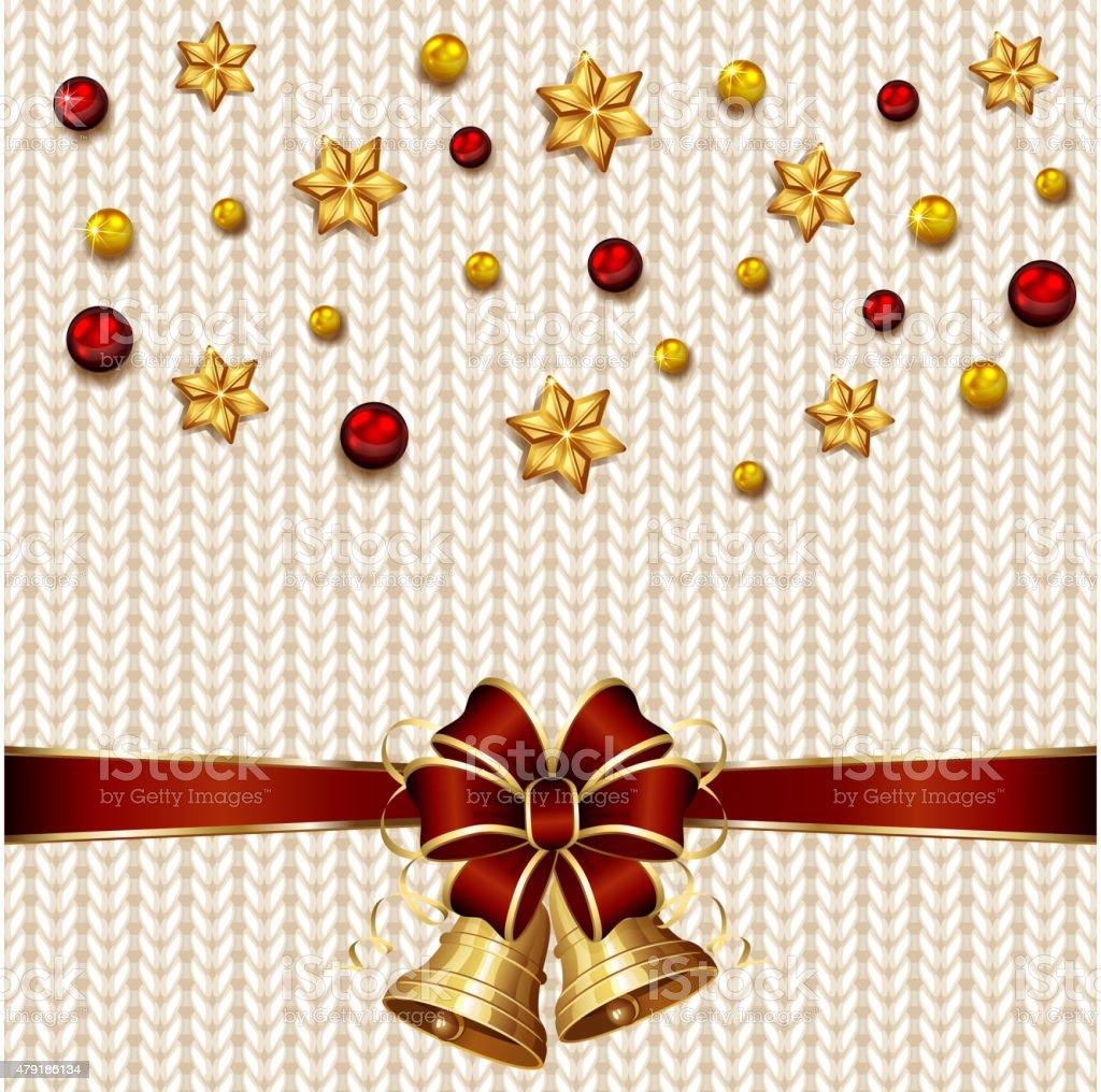 Christmas bells on white knitted pattern vector art illustration