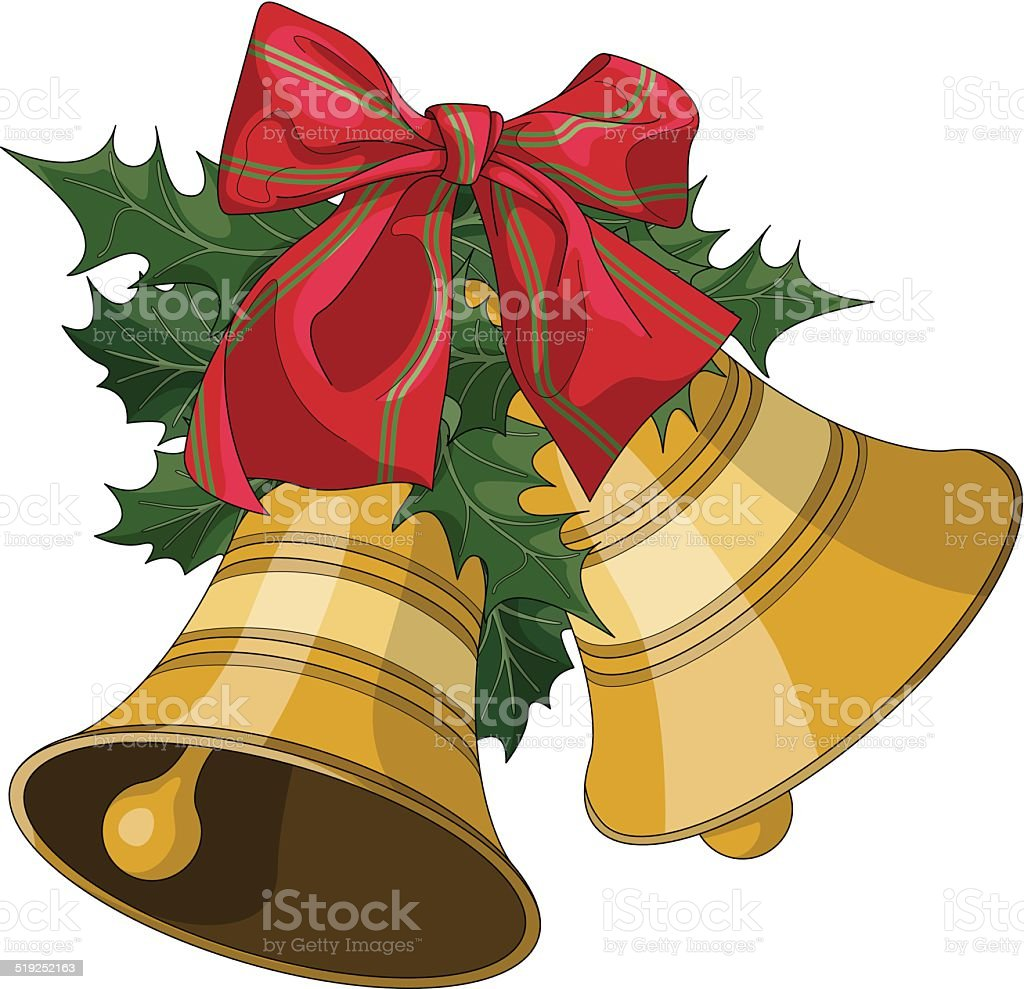 Christmas bells with holly and bow vector art illustration