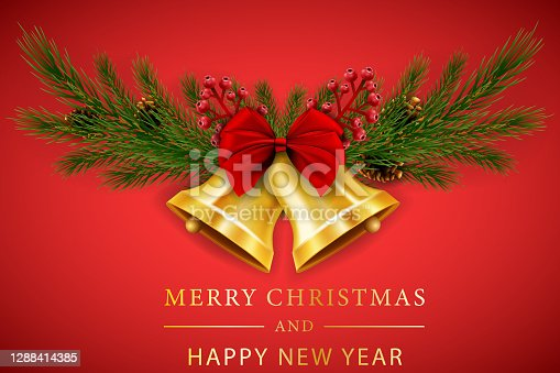 istock Christmas bells with red ribbon and fir branches 1288414385