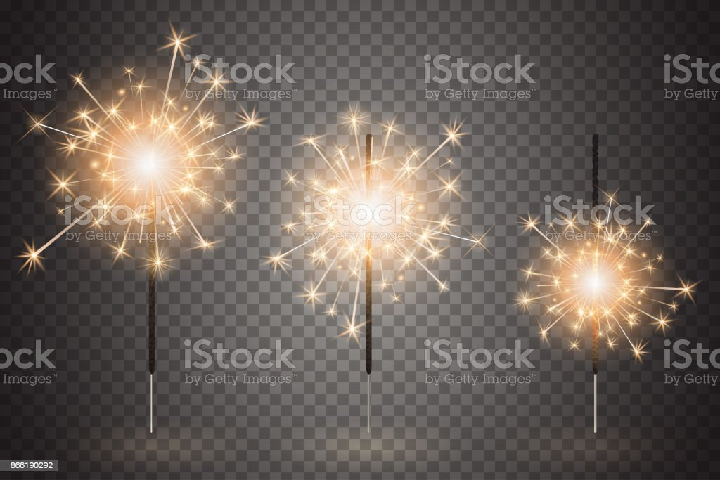 Christmas bengal light set. Realistic sparkler lights isolated on transparent background. Festive bright fireworks. Element of decorations for celebrations and holidays. Vector illustration vector art illustration
