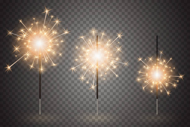 christmas bengal light set. realistic sparkler lights isolated on transparent background. festive bright fireworks. element of decorations for celebrations and holidays. vector illustration - spark stock illustrations