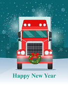 Christmas big truck with trailer. Front view. Vector flat illustration