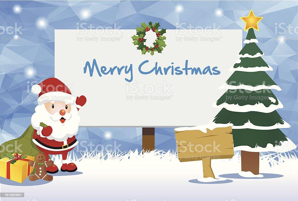 Christmas Billboard and Happy Santa Theme royalty-free stock vector art
