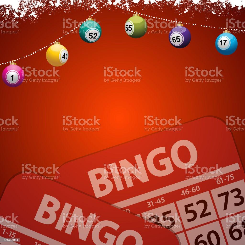 Christmas bingo baubles on festive red background vector art illustration