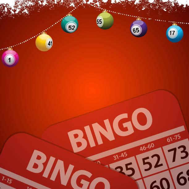 Enfeites de Natal bingo festivo fundo vermelho - ilustração de arte em vetor