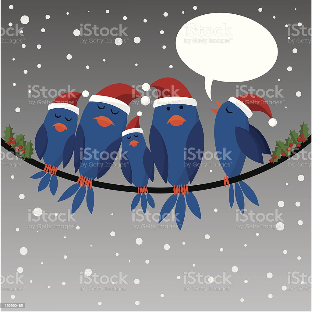 Christmas birds on a wire with speech cloud royalty-free stock vector art