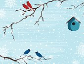 Christmas Birds On Snowy Branches Template