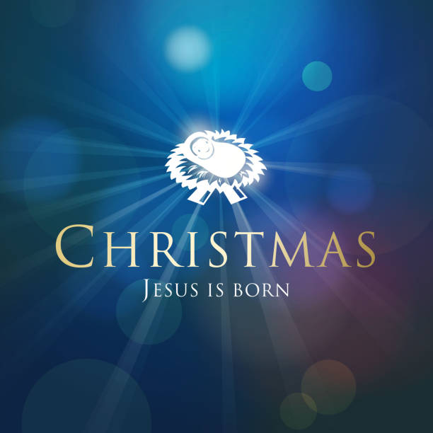 Christmas Birth of Christ The key of Christmas is the birth of Jesus Christ in the holy night on the blue light beam background trough stock illustrations
