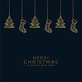 christmas black and gold background with hanging decoration