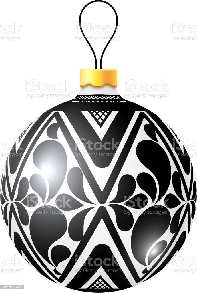 Boule De Noël Noir Et Blanc Sur Fond Blanc Illustration