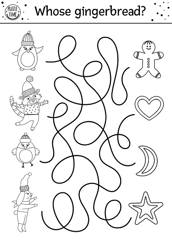 Christmas black and white maze for children. Winter new year preschool printable educational activity. Funny holiday game or puzzle with cute animals and cookies. Whose gingerbread?  Christmas maze for children