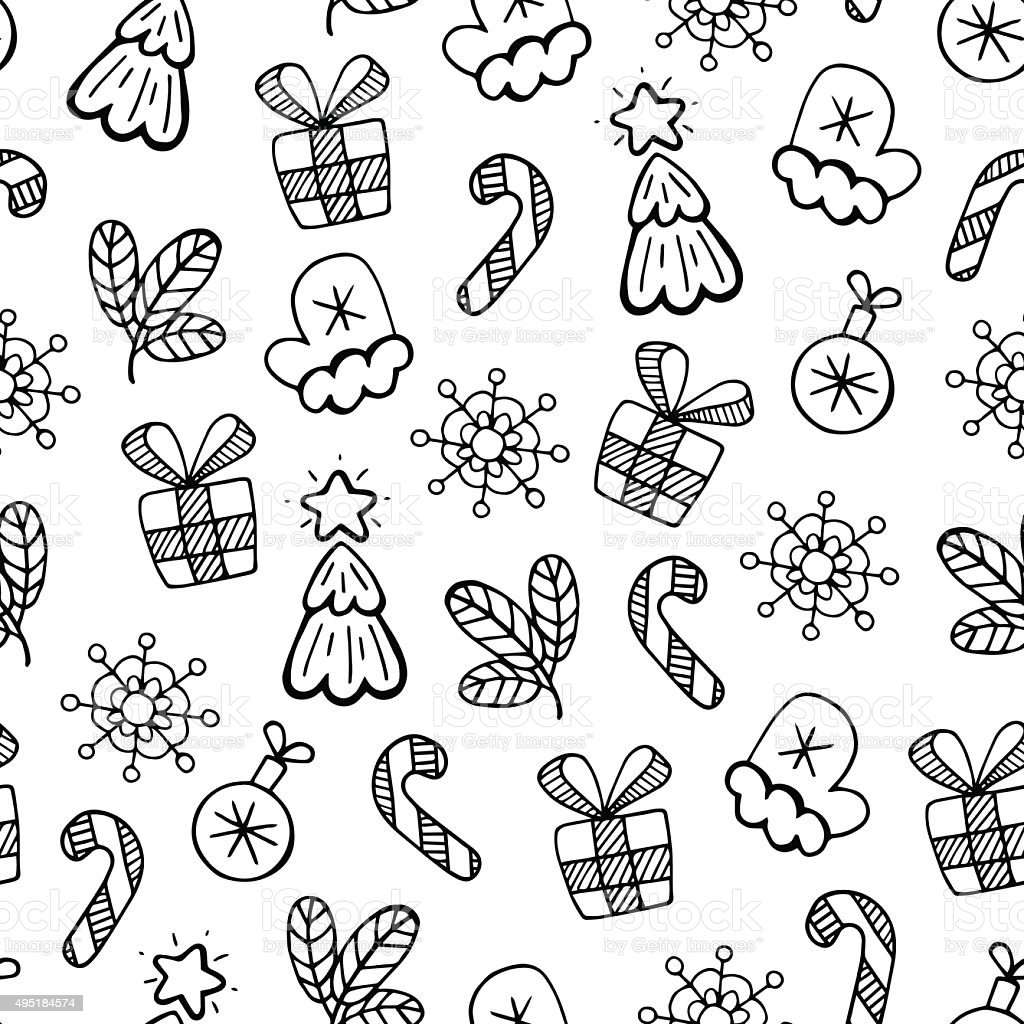 Christmas Black And White Sketch Vector Seamless Pattern
