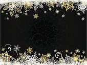 Dark christmas backround with snjw flakes and floral pattern