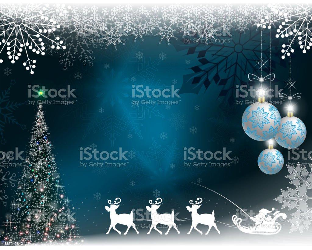 Imagenes De Papanoel En Movimiento.Ilustracion De Fondo De Navidad Azul Con Papa Noel Con