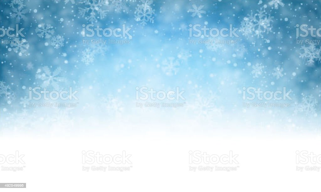 Christmas blue background with snow vector art illustration